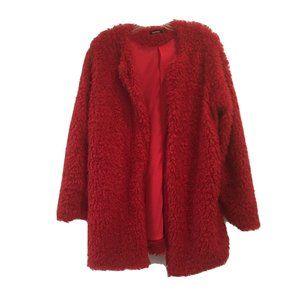 Boohoo Red Shaggy Fuzzy Cardigan Jacket Sweater